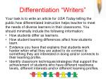 differentiation writers