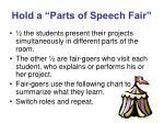 hold a parts of speech fair