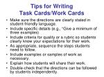 tips for writing task cards work cards