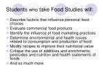 students who take food studies will