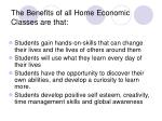 the benefits of all home economic classes are that