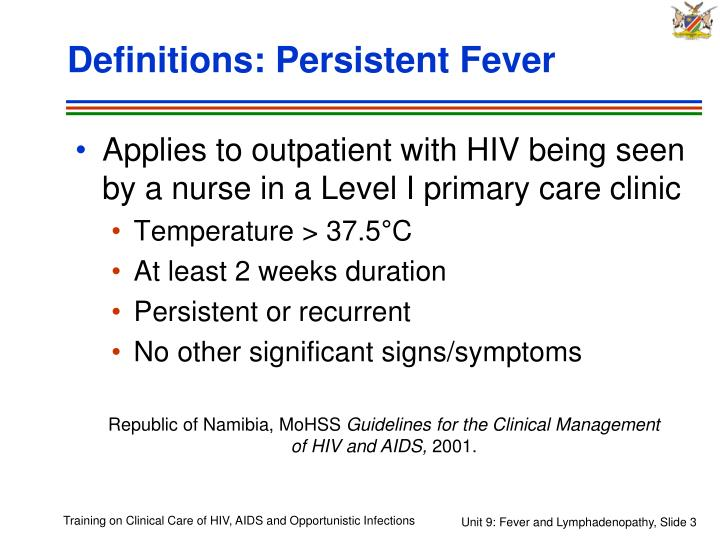 Definitions persistent fever