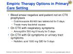empiric therapy options in primary care setting
