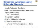 generalised lymphadenopathy differential diagnosis