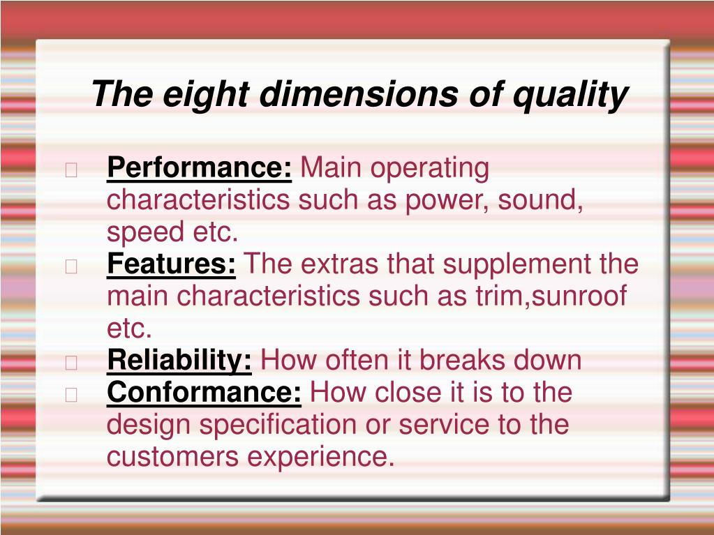 The eight dimensions of quality
