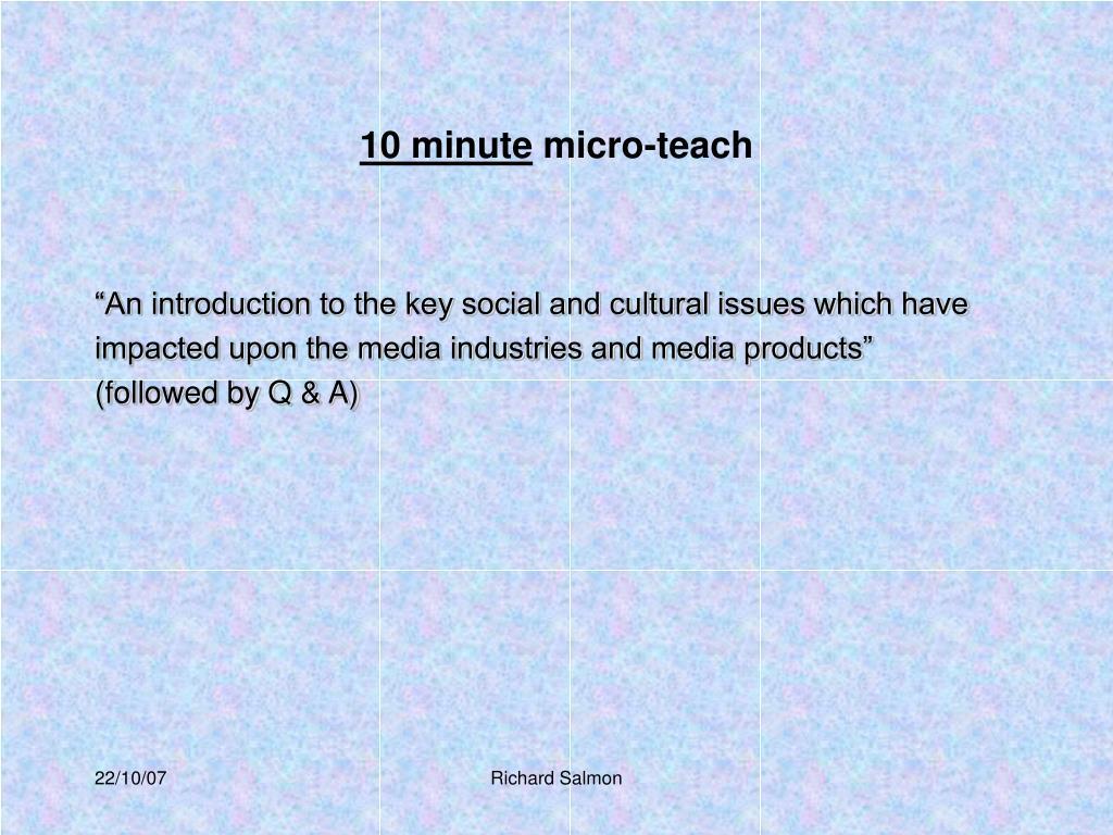 10 minute micro teach l.