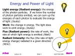 energy and power of light
