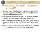 fundraising for pau request to a us nih