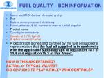 fuel quality bdn information