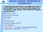 imo iso agreed appropritae parameters