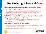 ultra violet light pros and cons