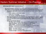 harlem summer initiative on premise