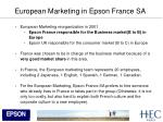 european marketing in epson france sa