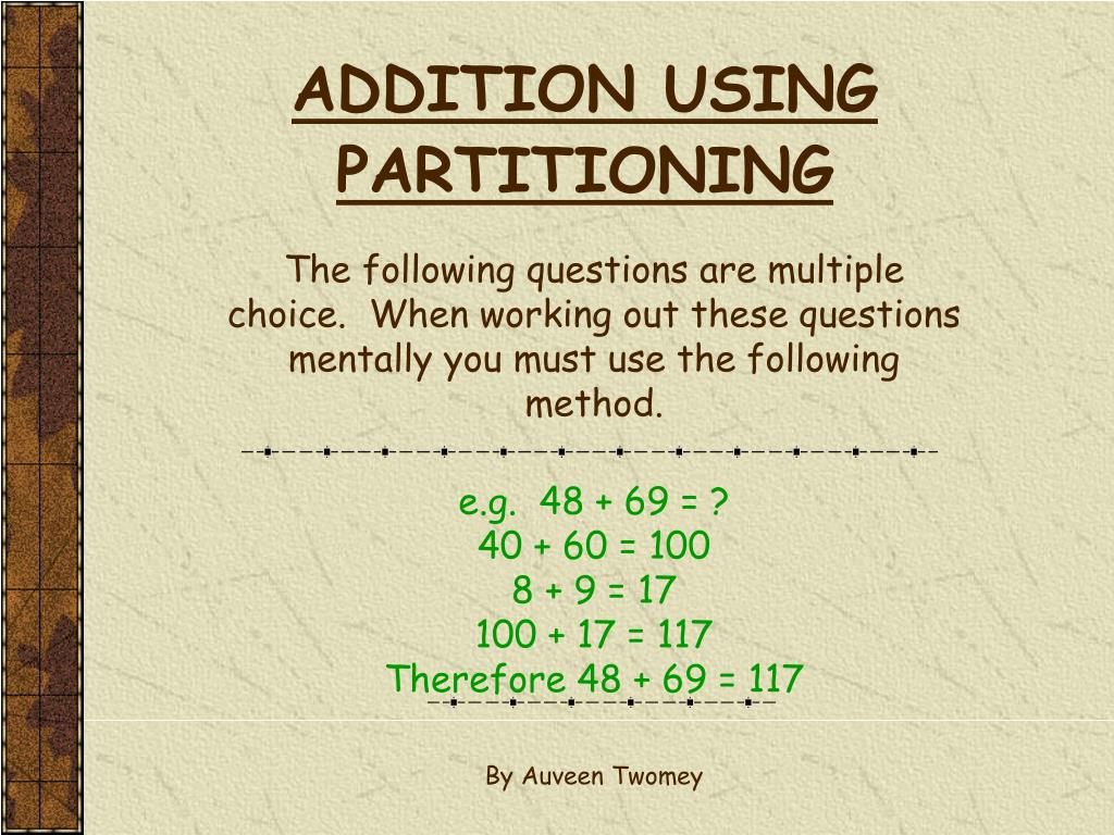 addition using partitioning l.