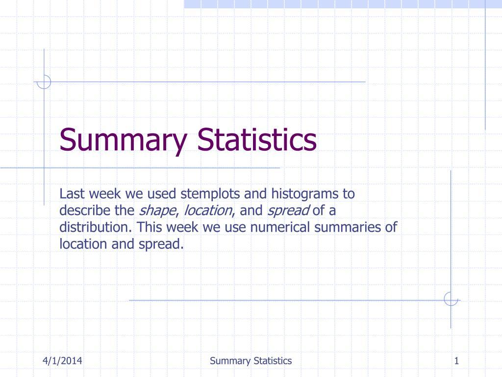 summary statistics l.