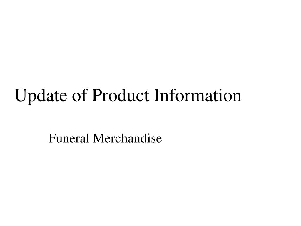update of product information l.