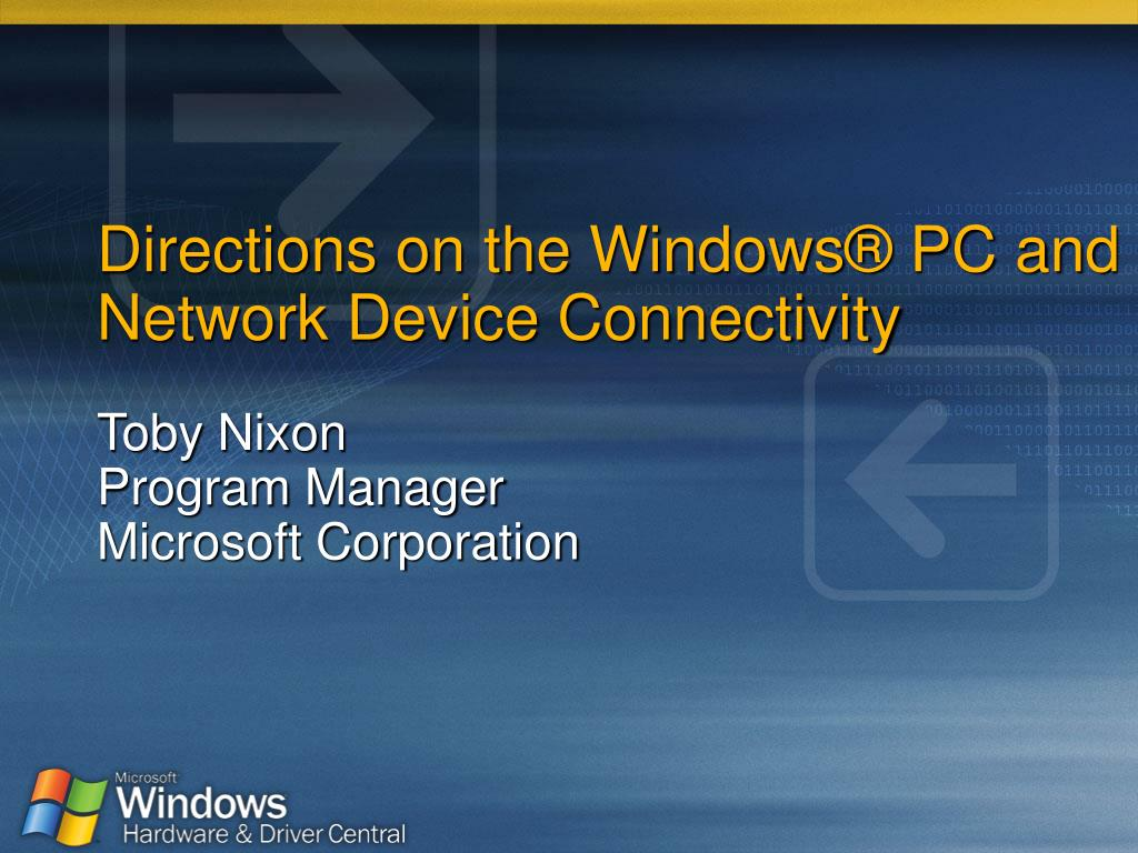 directions on the windows pc and network device connectivity l.