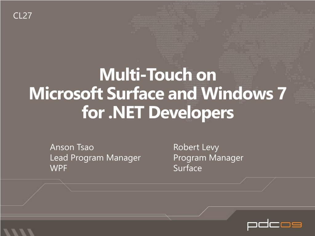multi touch on microsoft surface and windows 7 for net developers l.