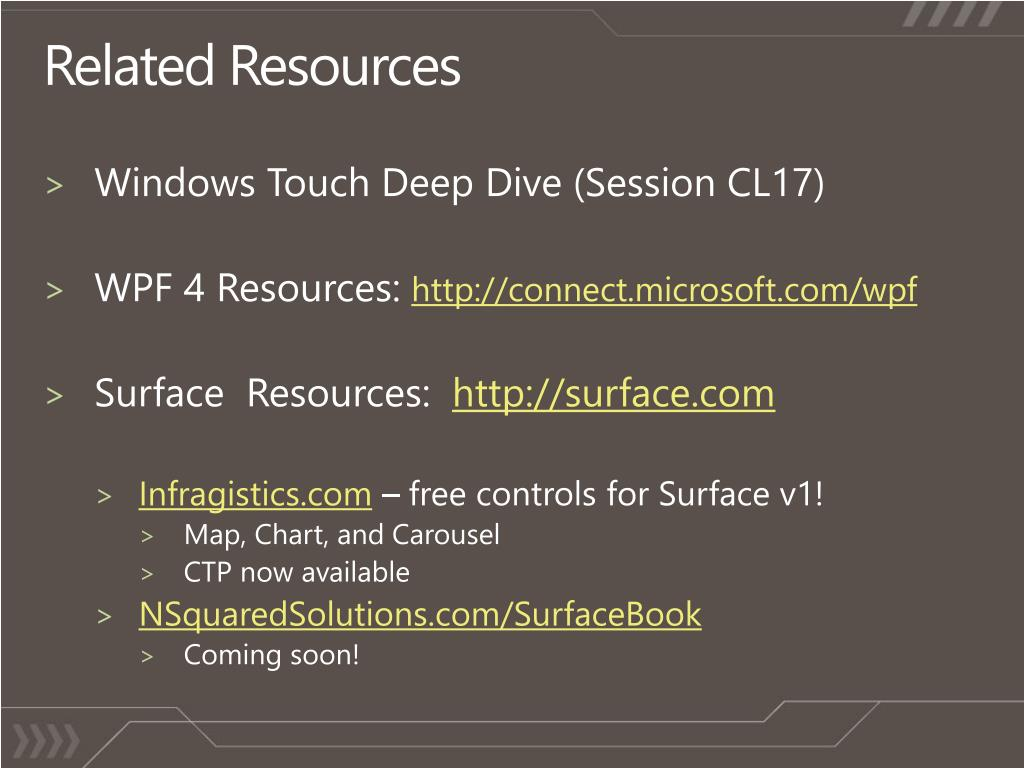 PPT - Multi-Touch on Microsoft Surface and Windows 7 for  NET