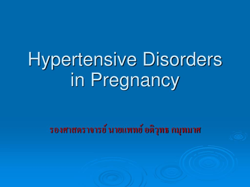 hypertensive disorders in pregnancy l.