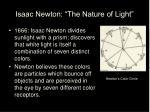 isaac newton the nature of light