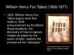 william henry fox talbot 1800 1877