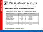 plan de validation du prototype sp cifications retenues extrait du cdcf
