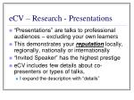 ecv research presentations