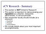 ecv research summary