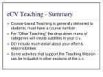 ecv teaching summary
