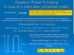quantum phase tunneling in case of a short wire simplified model