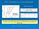 r t transitions vs wire diameter