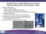 introduction to cabot microlectronics and chemical mechanical planarization cmp