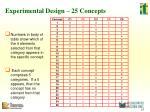 experimental design 25 concepts