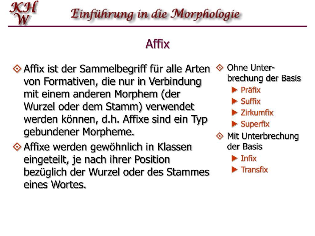 Affix ist der Sammelbegriff für alle Arten von Formativen, die nur in Verbindung mit einem anderen Morphem (der Wurzel oder dem Stamm) verwendet werden können, d.h. Affixe sind ein Typ gebundener Morpheme.