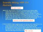 scientific writing hrp 214 abstracts55