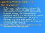 scientific writing hrp 214 the discussion101