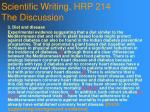scientific writing hrp 214 the discussion109