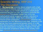 scientific writing hrp 214 the discussion87