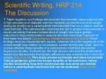 scientific writing hrp 214 the discussion92