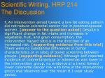 scientific writing hrp 214 the discussion97