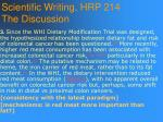 scientific writing hrp 214 the discussion99