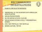 recommended investigations84