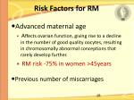 risk factors for rm