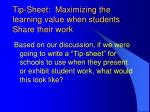 tip sheet maximizing the learning value when students share their work