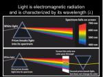 light is electromagnetic radiation and is characterized by its wavelength