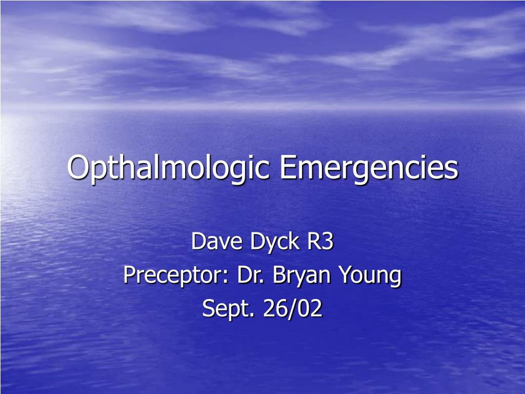 opthalmologic emergencies l.