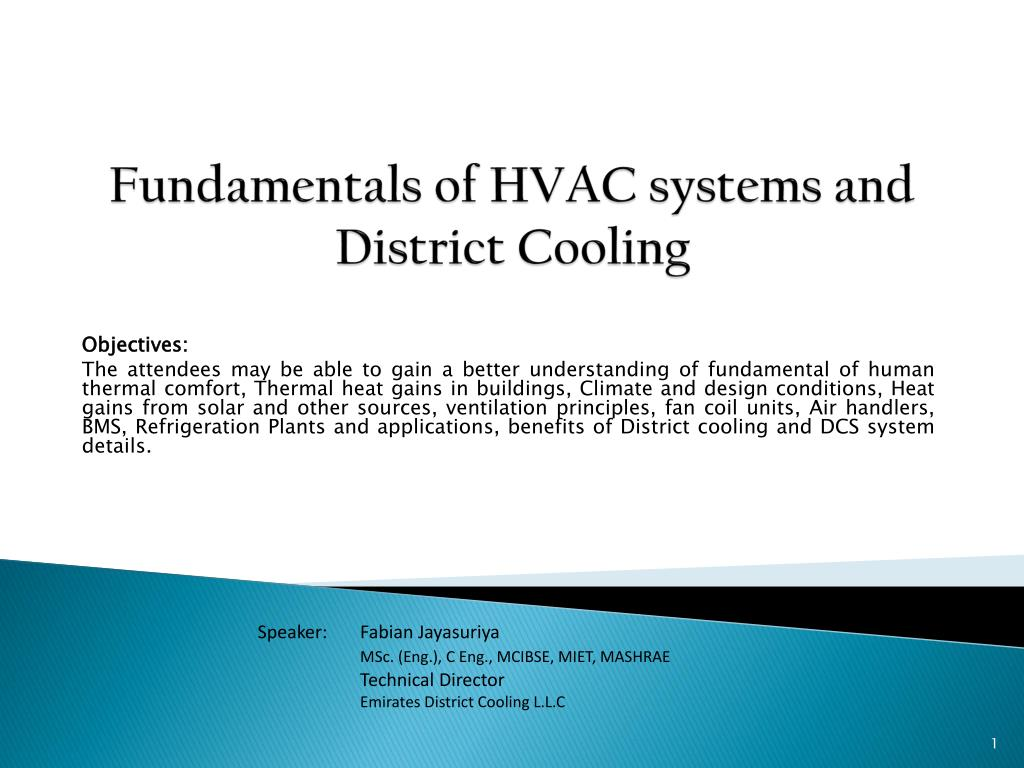 fundamentals of hvac systems and district cooling l.