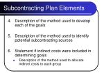 subcontracting plan elements11