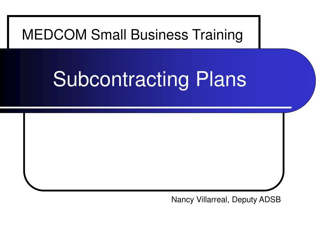 subcontracting plans l.